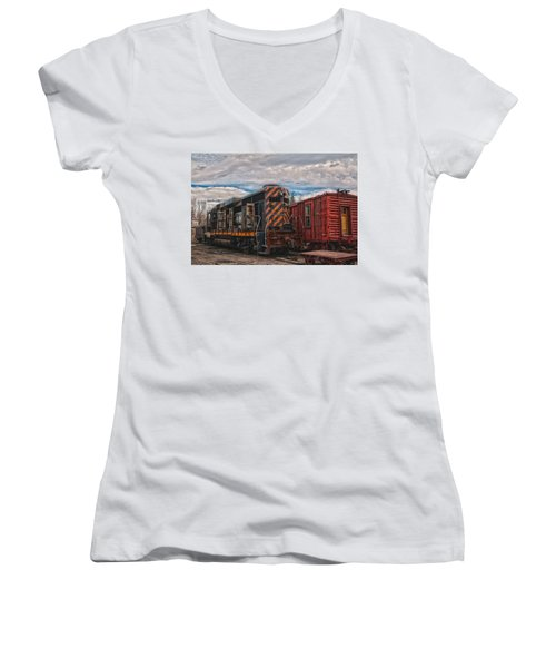 Waiting For Work Women's V-Neck T-Shirt (Junior Cut) by Michael Connor