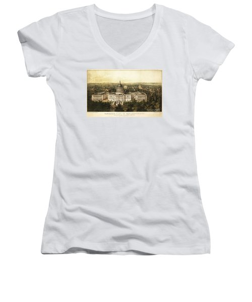 Washington City 1857 Women's V-Neck T-Shirt (Junior Cut) by Jon Neidert