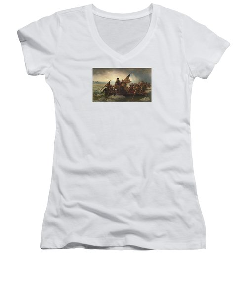Washington Crossing The Delaware Women's V-Neck T-Shirt (Junior Cut) by War Is Hell Store