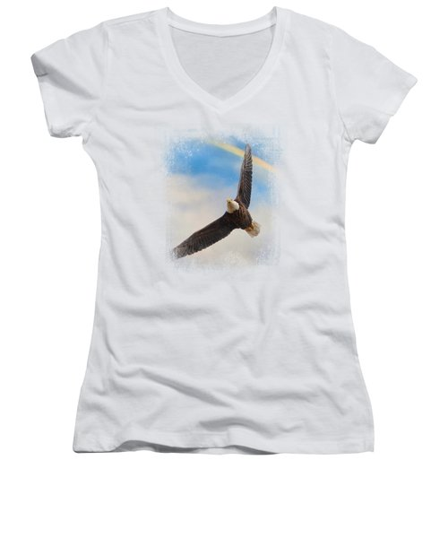When My Wings Touch The Rainbow Women's V-Neck T-Shirt (Junior Cut) by Jai Johnson