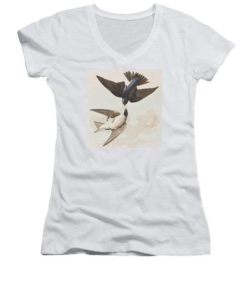 White-bellied Swallow Women's V-Neck T-Shirt (Junior Cut) by John James Audubon
