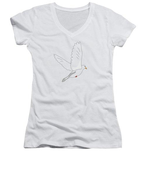 White Dove Women's V-Neck T-Shirt (Junior Cut) by Miroslav Nemecek