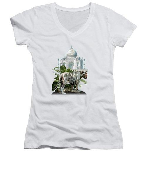 White Tiger And The Taj Mahal Image Of Beauty Women's V-Neck T-Shirt (Junior Cut) by Regina Femrite