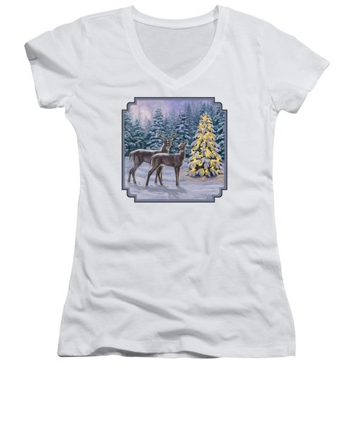 Whitetail Christmas Women's V-Neck T-Shirt (Junior Cut) by Crista Forest