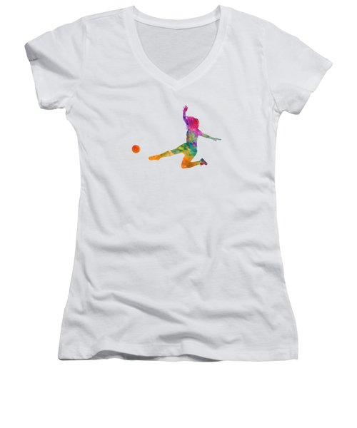 Woman Soccer Player 11 In Watercolor Women's V-Neck T-Shirt (Junior Cut) by Pablo Romero