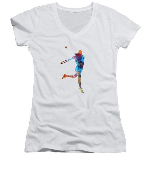Woman Tennis Player 03 In Watercolor Women's V-Neck T-Shirt (Junior Cut) by Pablo Romero