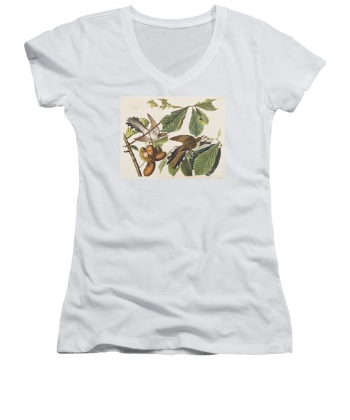 Yellow Billed Cuckoo Women's V-Neck T-Shirt (Junior Cut) by John James Audubon