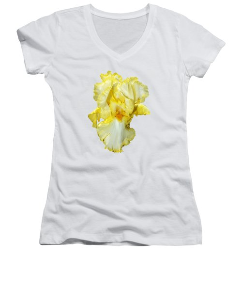 Yellow Mist Iris Women's V-Neck T-Shirt (Junior Cut) by Phyllis Denton