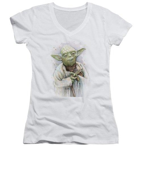 Yoda Women's V-Neck T-Shirt (Junior Cut) by Olga Shvartsur