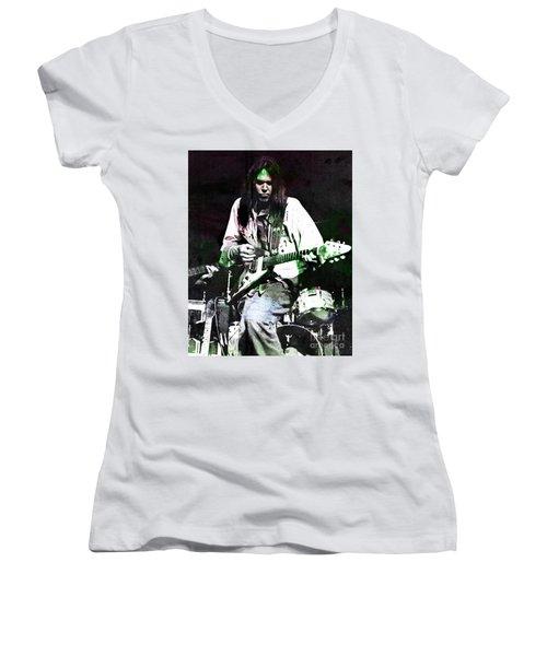 Young Neil Women's V-Neck T-Shirt (Junior Cut) by John Malone