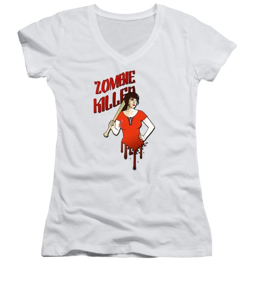 Zombie Killer Women's V-Neck T-Shirt (Junior Cut) by Nicklas Gustafsson