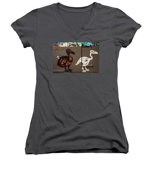 Artistic Graffiti On The U2 Wall Women's V-Neck T-Shirt (Junior Cut) by Panoramic Images