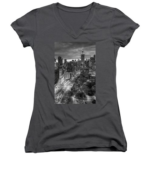 Flatiron District Birds Eye View Women's V-Neck T-Shirt (Junior Cut) by Susan Candelario