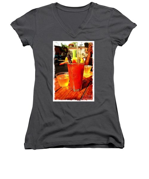 Morning Bloody Women's V-Neck T-Shirt (Junior Cut) by Perry Webster