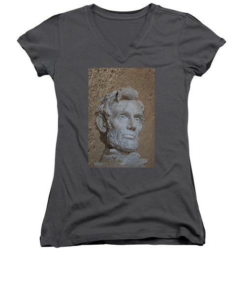 President Lincoln Women's V-Neck T-Shirt (Junior Cut) by Skip Willits