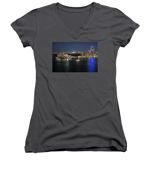 Sydney Harbor At Circular Quay Women's V-Neck T-Shirt (Junior Cut) by Ellen Henneke