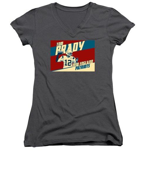 Tom Brady Women's V-Neck T-Shirt (Junior Cut) by Taylan Soyturk