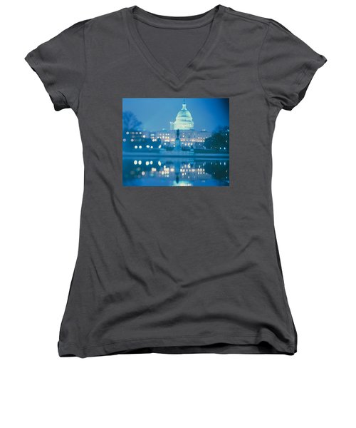 Government Building Lit Up At Night Women's V-Neck T-Shirt (Junior Cut) by Panoramic Images