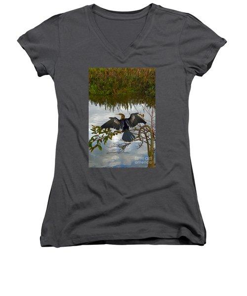 Anhinga Women's V-Neck T-Shirt (Junior Cut) by Mark Newman