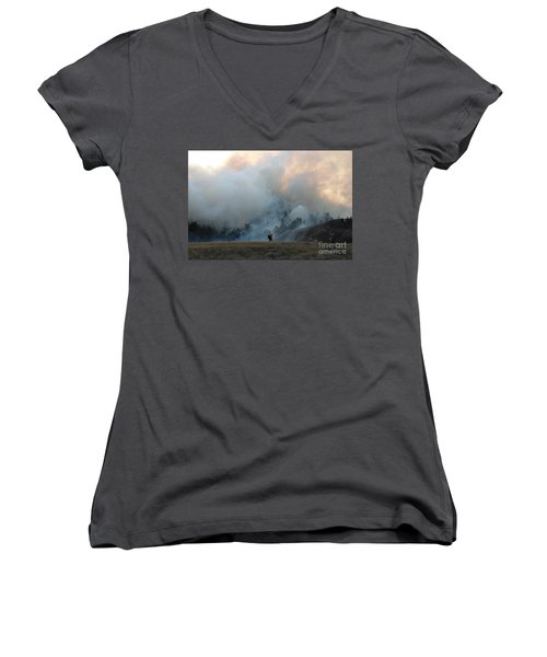 Women's V-Neck T-Shirt (Junior Cut) featuring the photograph A Solitary Firefighter On The White Draw Fire by Bill Gabbert