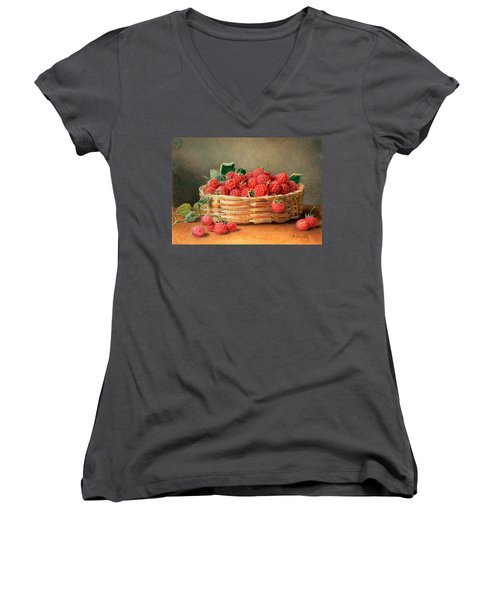 A Still Life Of Raspberries In A Wicker Basket  Women's V-Neck T-Shirt (Junior Cut) by William B Hough