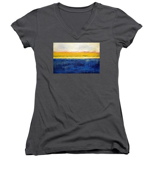Abstract Dunes With Blue And Gold Women's V-Neck T-Shirt (Junior Cut) by Michelle Calkins