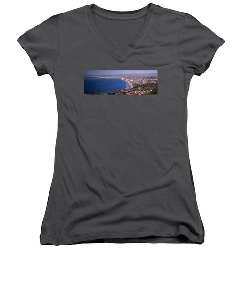 Aerial View Of A City At Coast, Santa Women's V-Neck T-Shirt (Junior Cut) by Panoramic Images