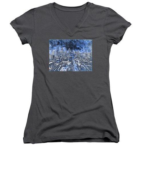 Austin Texas Abstract Panorama 5 Women's V-Neck T-Shirt (Junior Cut) by Bekim Art