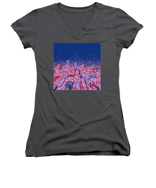 Austin Texas Abstract Panorama Women's V-Neck T-Shirt (Junior Cut) by Bekim Art