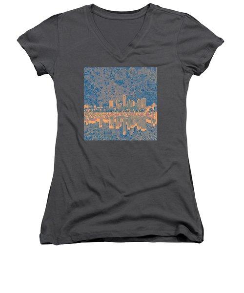 Austin Texas Skyline 2 Women's V-Neck T-Shirt (Junior Cut) by Bekim Art