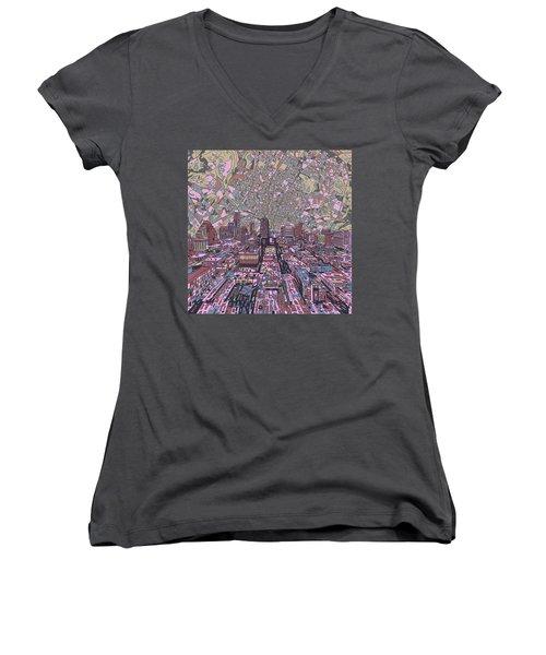 Austin Texas Vintage Panorama 2 Women's V-Neck T-Shirt (Junior Cut) by Bekim Art