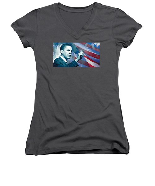 Barack Obama Artwork 2 Women's V-Neck T-Shirt (Junior Cut) by Sheraz A