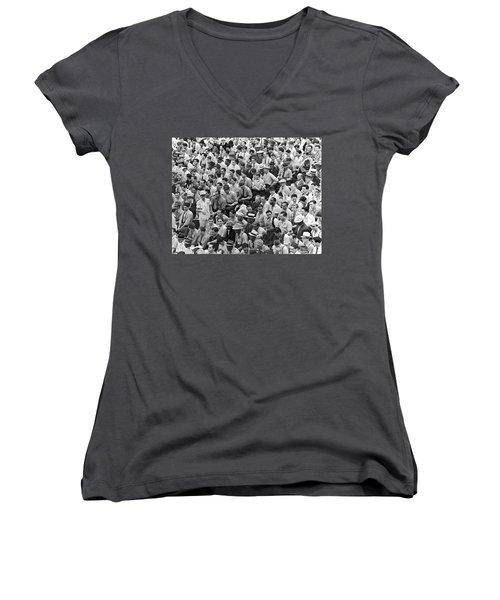 Baseball Fans In The Bleachers At Yankee Stadium. Women's V-Neck T-Shirt (Junior Cut) by Underwood Archives