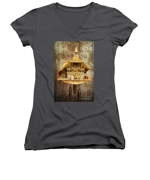 Black Forest Figurine Clock Women's V-Neck T-Shirt (Junior Cut) by Heiko Koehrer-Wagner