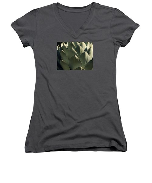 Blue Aloe Women's V-Neck T-Shirt (Junior Cut) by Ellen Henneke