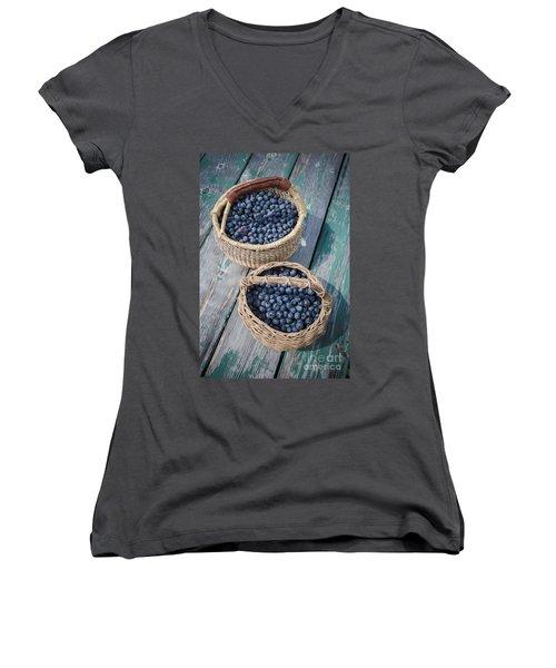 Blueberry Baskets Women's V-Neck T-Shirt (Junior Cut) by Edward Fielding