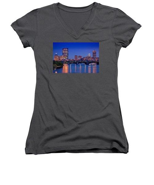 Boston Nights 2 Women's V-Neck T-Shirt (Junior Cut) by Joann Vitali