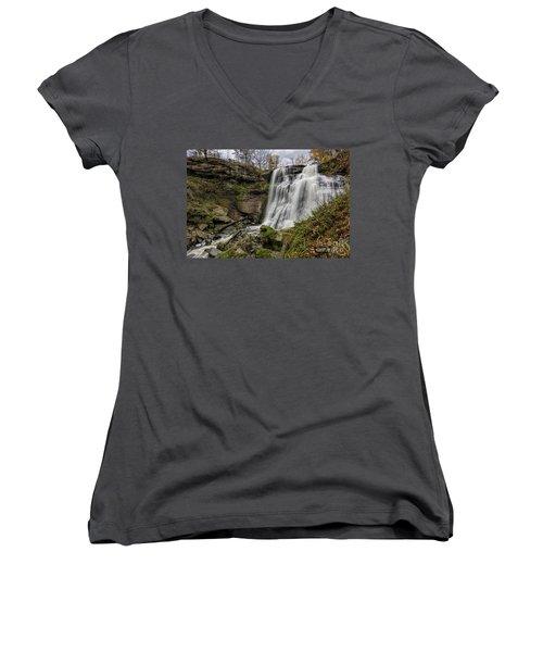 Brandywine Falls Women's V-Neck T-Shirt (Junior Cut) by James Dean