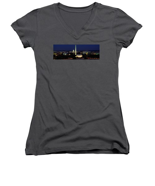 Buildings Lit Up At Night, Washington Women's V-Neck T-Shirt (Junior Cut) by Panoramic Images