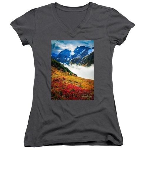 Cascade Pass Peaks Women's V-Neck T-Shirt (Junior Cut) by Inge Johnsson