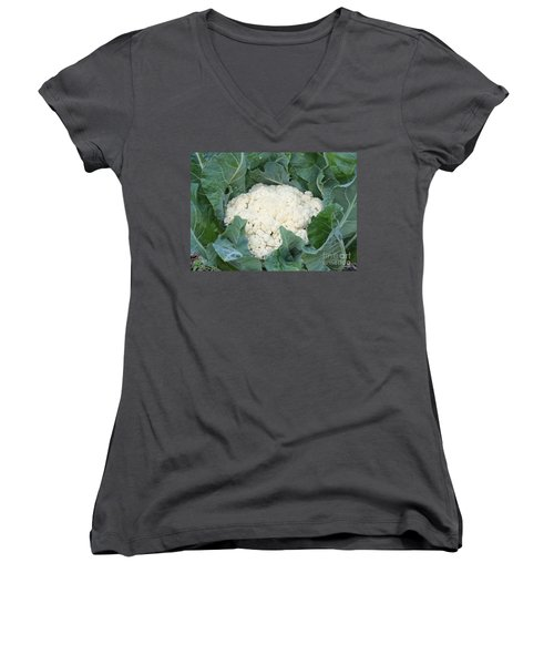 Cauliflower Women's V-Neck T-Shirt (Junior Cut) by Carol Groenen