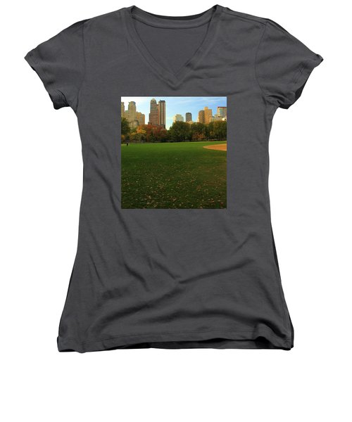 Central Park In Autumn Women's V-Neck T-Shirt (Junior Cut) by Dan Sproul