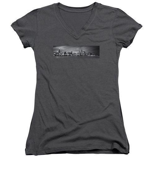 Chicago Skyline At Night Black And White Panoramic Women's V-Neck T-Shirt (Junior Cut) by Adam Romanowicz