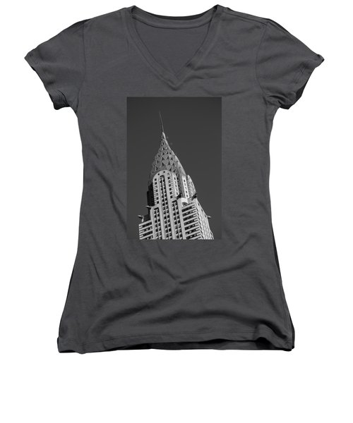Chrysler Building Bw Women's V-Neck T-Shirt (Junior Cut) by Susan Candelario