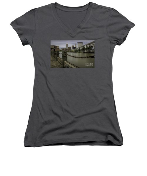 Cleveland Ohio Women's V-Neck T-Shirt (Junior Cut) by James Dean