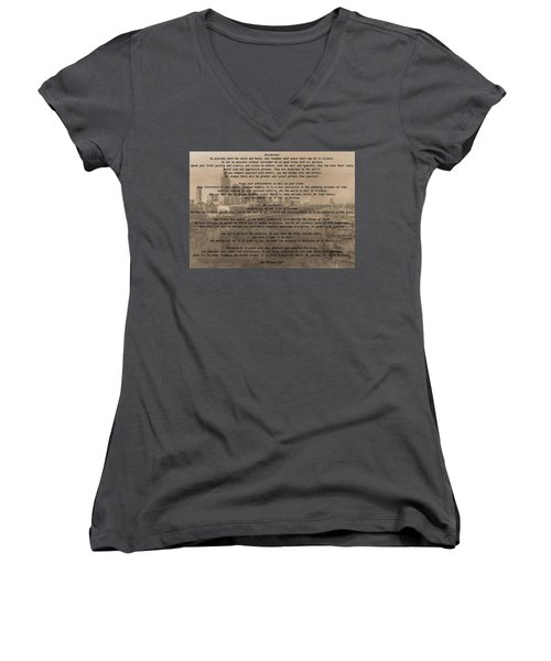 Desiderata Nashville Women's V-Neck T-Shirt (Junior Cut) by Dan Sproul