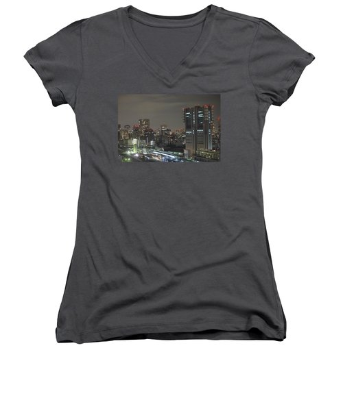 Docomo Tower Over Shinagawa Station And Tokyo Skyline At Night Women's V-Neck T-Shirt (Junior Cut) by Jeff at JSJ Photography