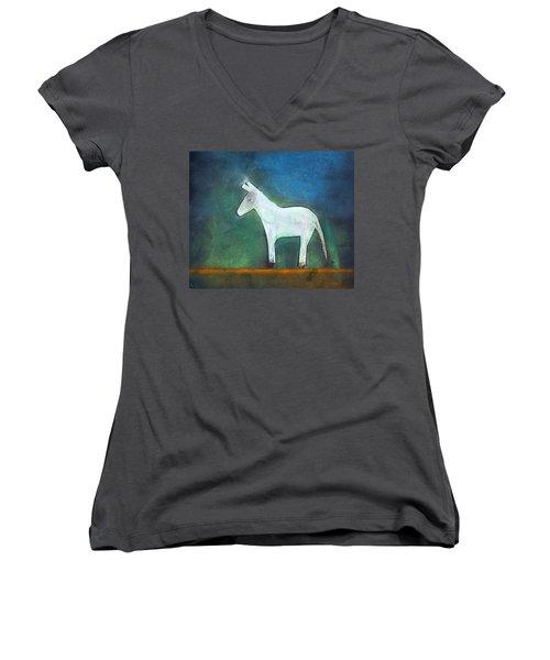 Donkey, 2011 Oil On Canvas Women's V-Neck T-Shirt (Junior Cut) by Roya Salari