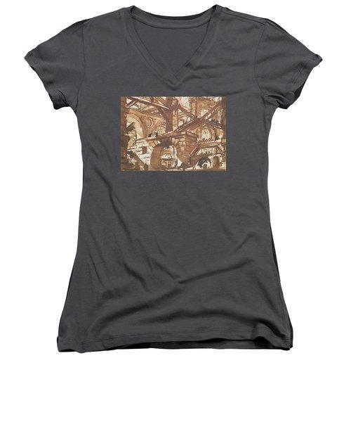 Drawing Of An Imaginary Prison Women's V-Neck T-Shirt (Junior Cut) by Giovanni Battista Piranesi