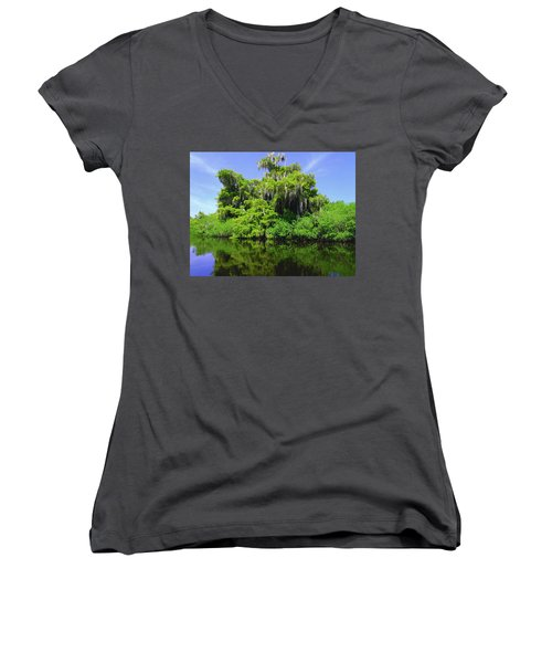 Florida Swamps Women's V-Neck T-Shirt (Junior Cut) by Carey Chen
